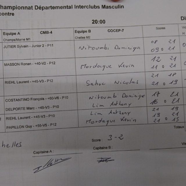 M1B: Chelles contre Champs sur Marne 3-2